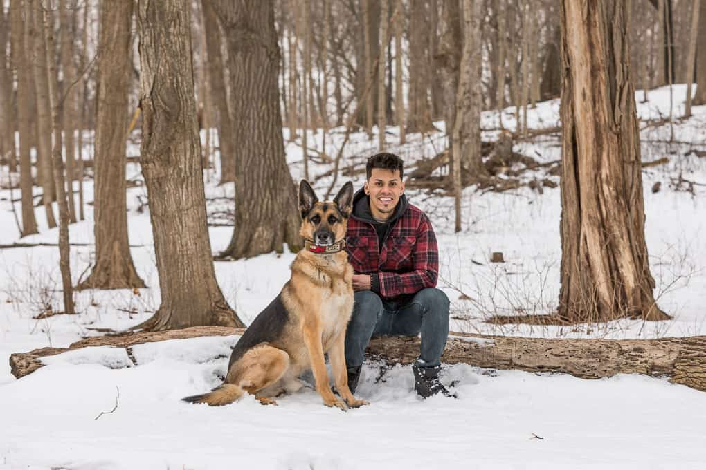 German Shepherd and his Owner at Shadow Dog Photography Session in Wisconsin